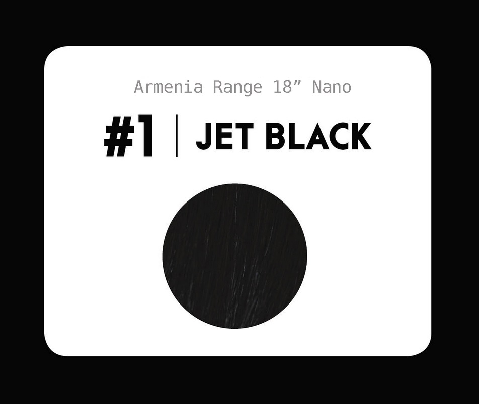 #1 Jet black – 18″- 1 gram – Nano (25 strands per packet)