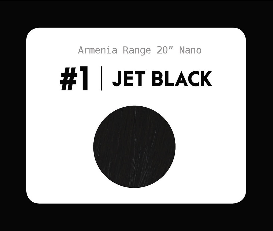 #1 Jet black – 20″- 1 gram – Nano (25 strands per packet)