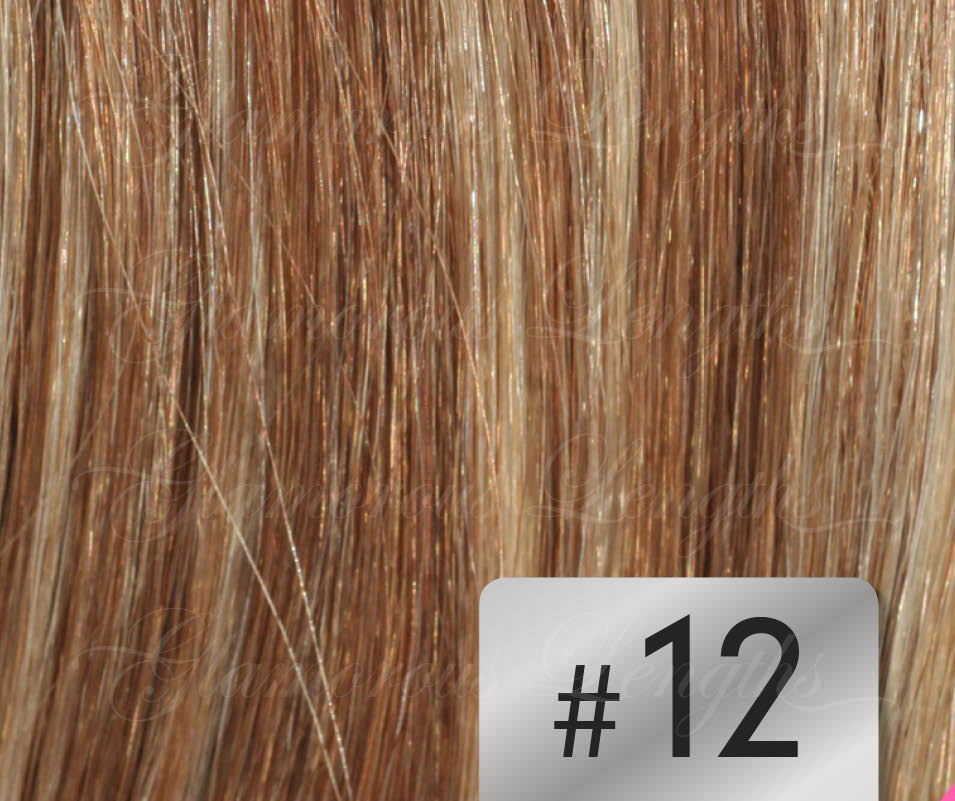 #12 Mixed Blonde/ Brown – 18″ - 1 gram – Nano (25 strands per packet)