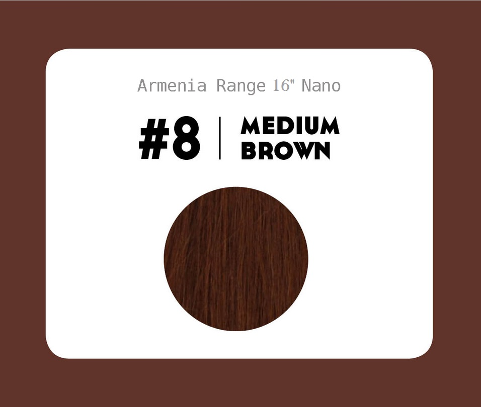 #8 Medium Brown – 16″ - 1 gram – Nano (25 strands per packet)