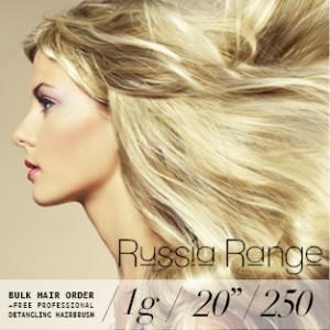 Russia Range 1g 250 strands – Bulk Hair Order – 20inch (Free Professional detangling hairbrush)