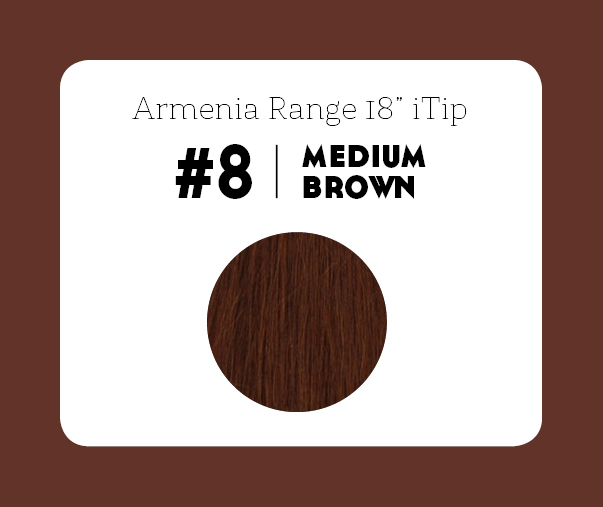 #8 Medium Brown – 18″- 1 gram – iTip - Armenia Range