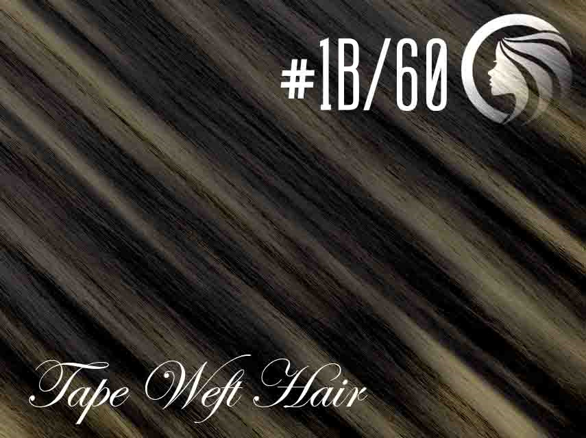 #1B/60 Off Black/Blonde – 18″ – 60 gram – 24 Pieces – Athena Tape Weft