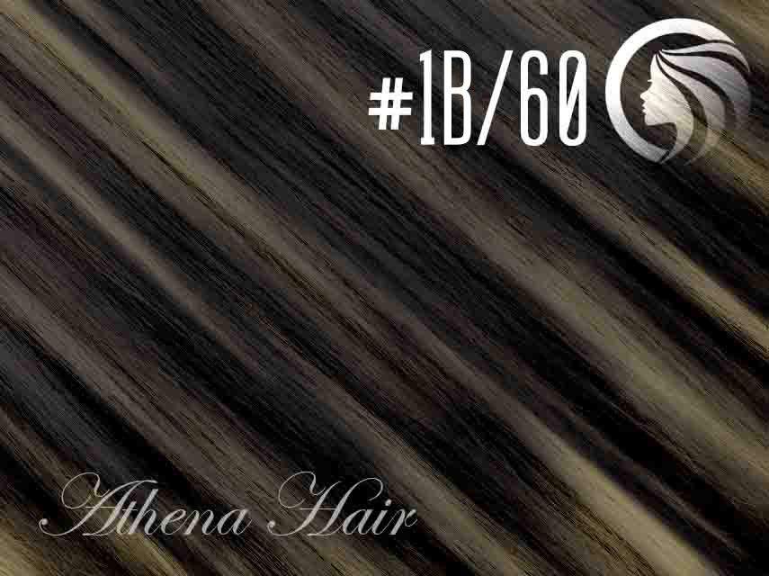 #1B/60 Off Black/Blonde – 18″ – 0.5 gram – iTip – Athena (50 strands per packet)