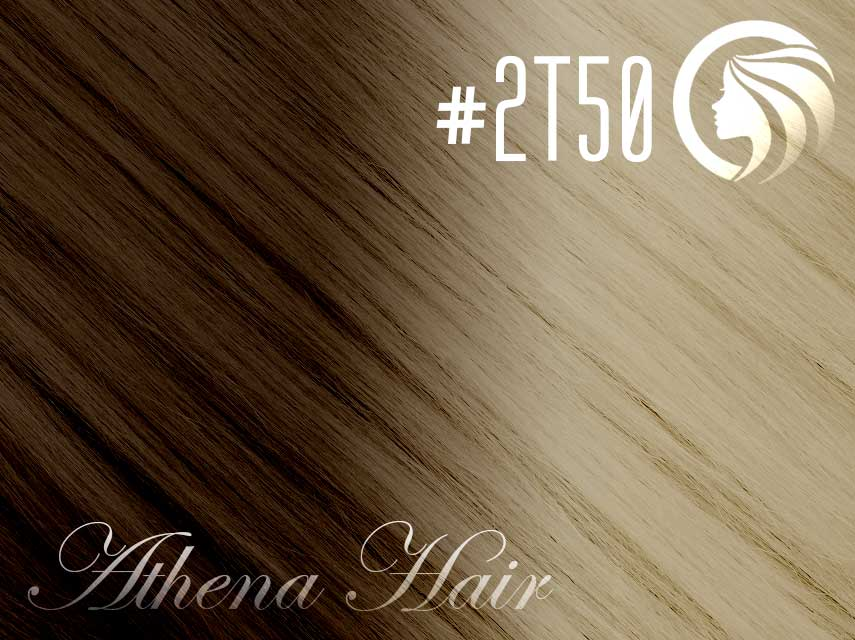 #2T50 Dark Brown/Light Silver Grey – 18″ – 1 gram – uTip – Athena Ombre (25 strands per packet)