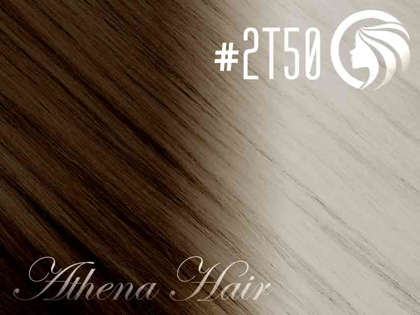 #2T50 Dark Brown/Light Silver Grey – 18″ – 1 gram – Nano Tip – Athena Ombre (25 strands per packet)
