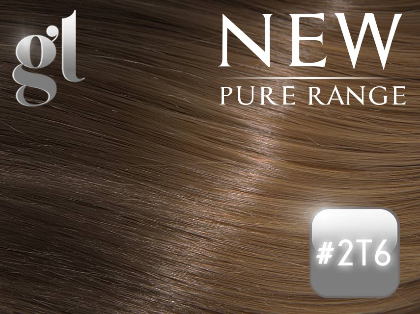 #2T6 Dark Brown/Brown (NEW Nano tip) – 20″ - 0.8 gram – Pure Range Ombre (25 Strands)