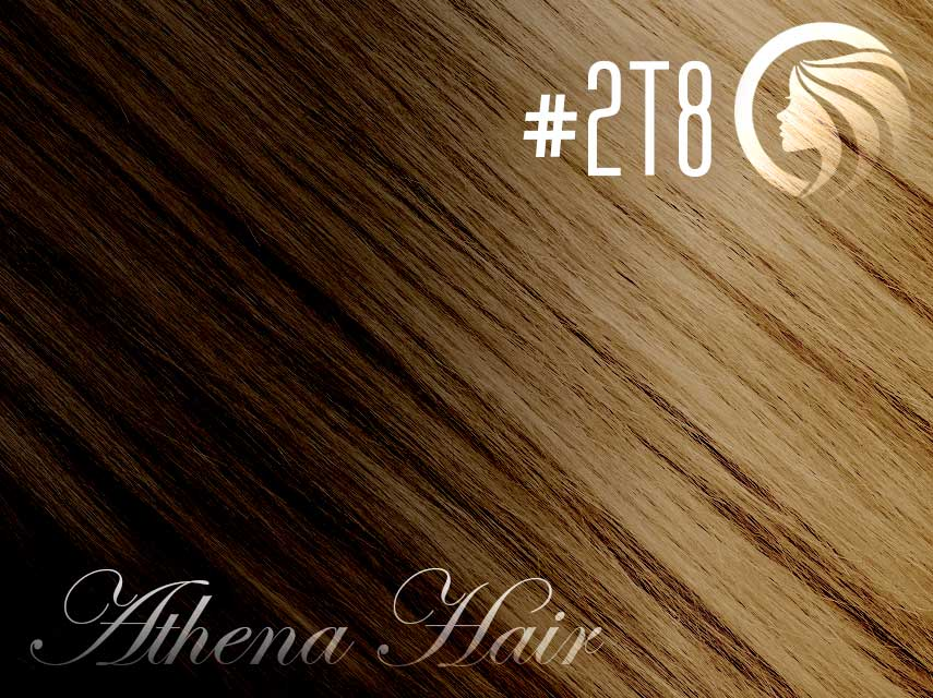 #2T8 Dark Brown/Medium Brown – 18″ – 1 gram – uTip – Athena Ombre (25 strands per packet)