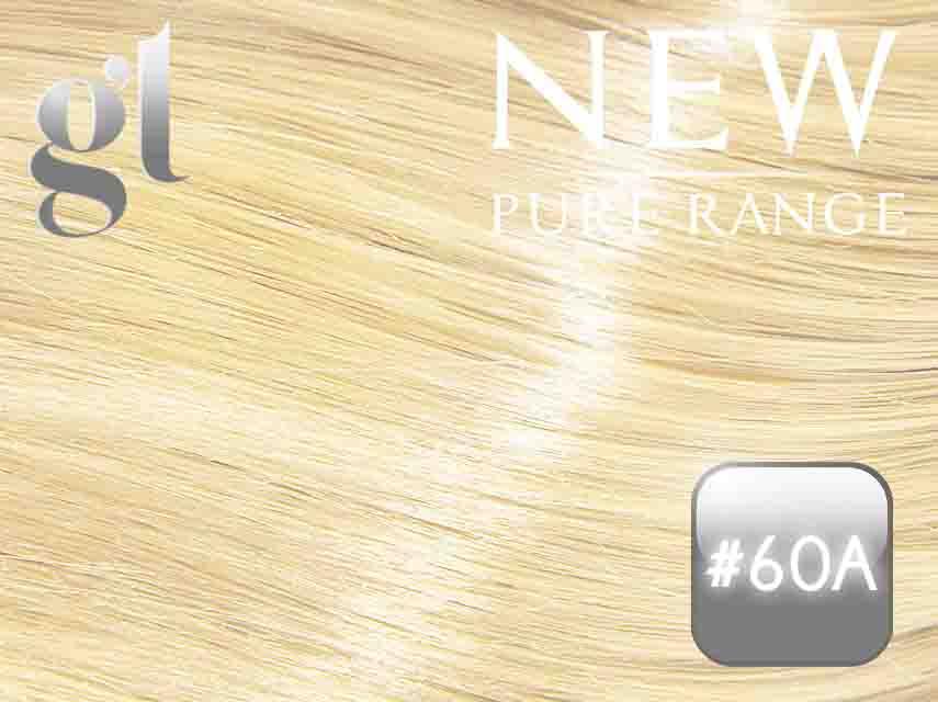 #60A Light Platinum Ash Blonde – 20″ - 0.8 gram – iTip - Pure Range (25 Strands)