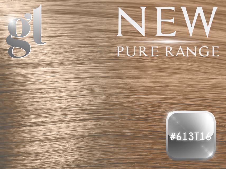 #613T16 Blonde/Ash Blonde (NEW Nano tip) – 20″ - 0.8 gram – Pure Range Ombre (25 Strands)