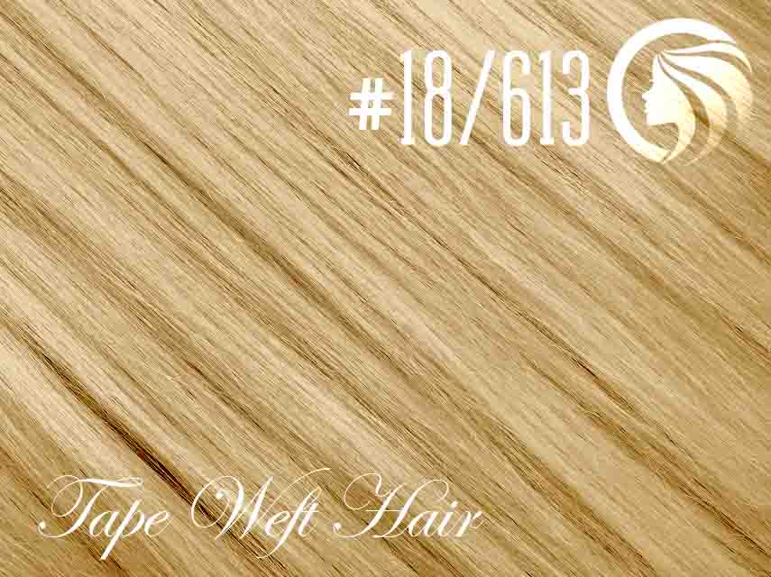 #18/613 Honey Blonde/Blonde – 18″ – 60 gram – 24 Pieces – Athena Tape Weft