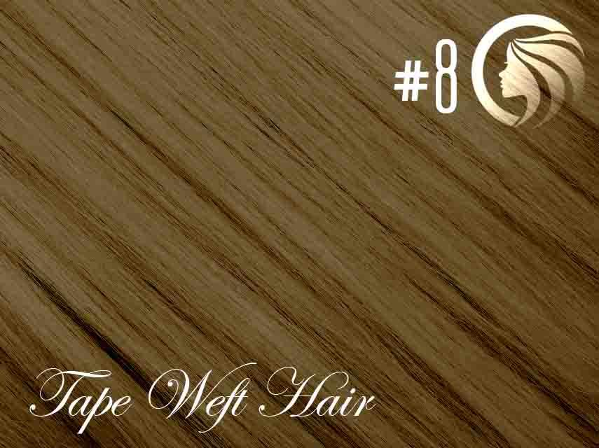 #8 Medium Brown – 18″ – 60 gram – 24 Pieces – Athena Tape Weft