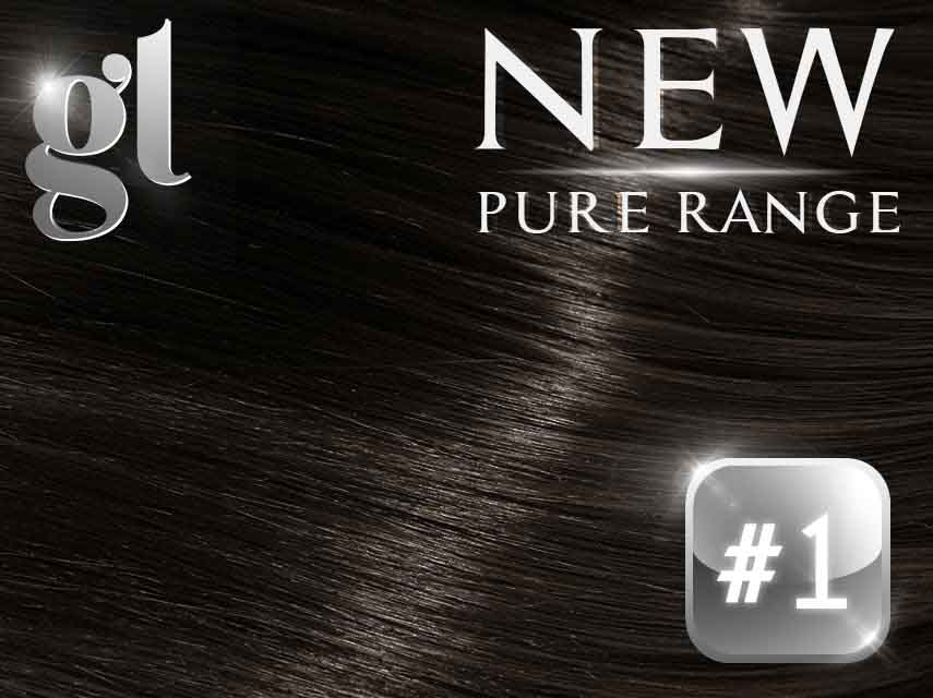 #1 Jet Black – 20″ – 0.8 gram – uTip – Pure Range (25 Strands)
