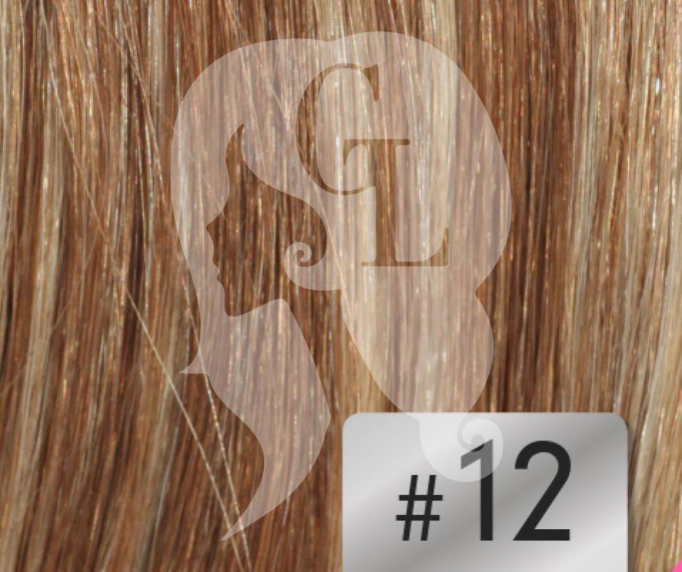 #12 Mixed Blonde/Brown – 16″- 1 gram – Nano (25 strands per packet)