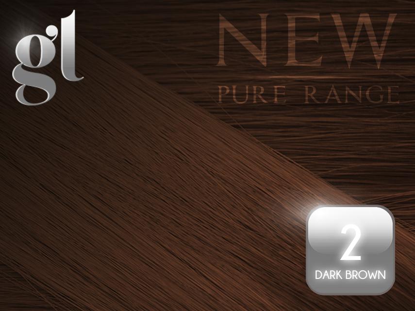 #2 Dark Brown – 20″ - 0.8 gram – Nano Tip - Pure Range (25 Strands)