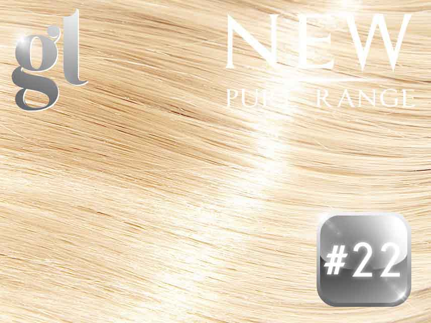 #22 Light Neutral Blonde (NEW Nano tip) – 20″ – 0.8 gram – Pure Range (25 Strands)