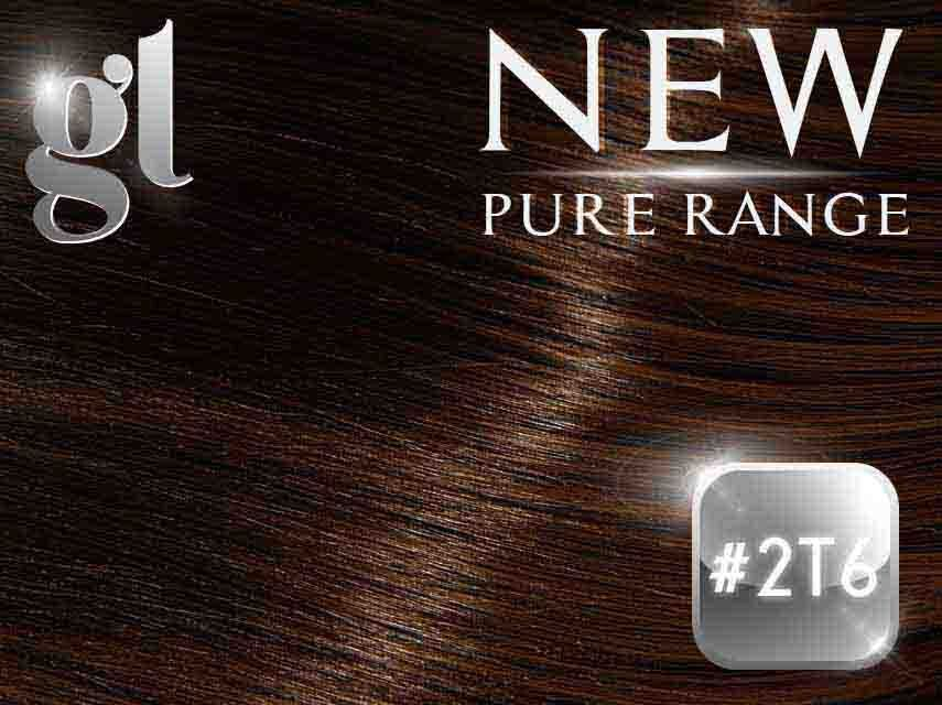 #2/6T6 Dark Brown/Light Mocha Brown (NEW Nano tip) – 20″ - 0.8 gram – Pure Range Balayage (25 Strands)