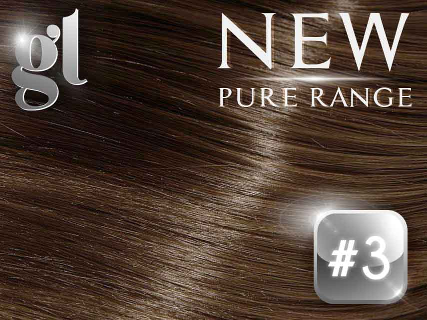 #3 Natural Ash Brown - Nano tip– 20″ - 0.8 gram – Pure Range (25 Strands)