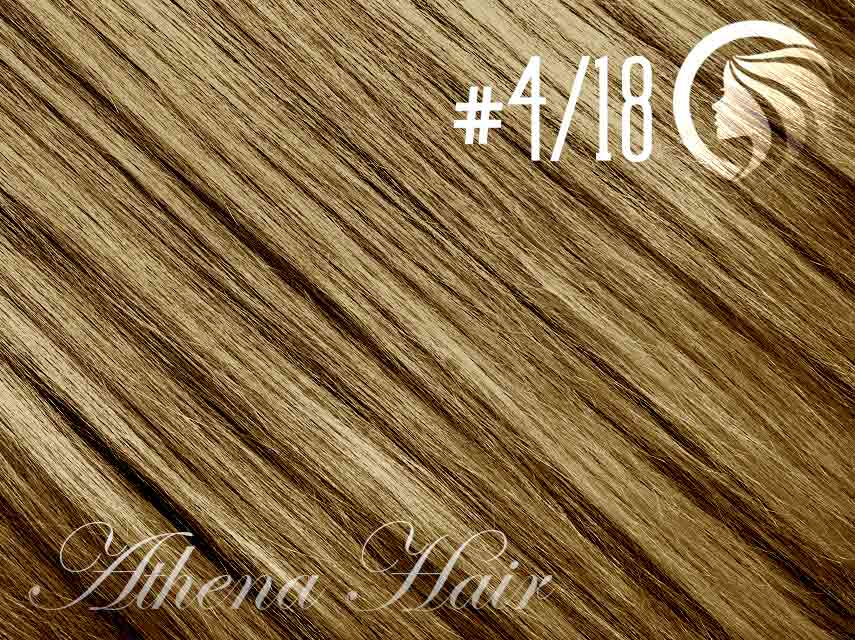 #4/18 Chocolate Brown/Honey Blonde – 18″ – 0.5 gram – uTip – Athena (50 strands per packet)