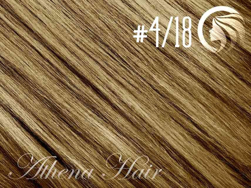 #4/18 Chocolate Brown/Honey Blonde – 18″ – 0.5 gram – uTip – Athena (50 strands per packet)