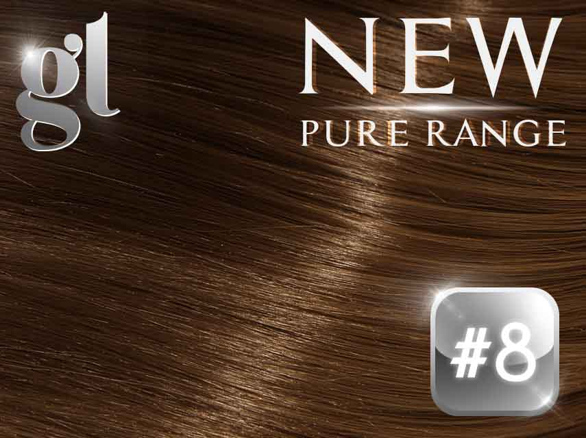 #8 Medium Brown (NEW Nano tip) – 20″ - 0.8 gram – Pure Range (25 Strands)
