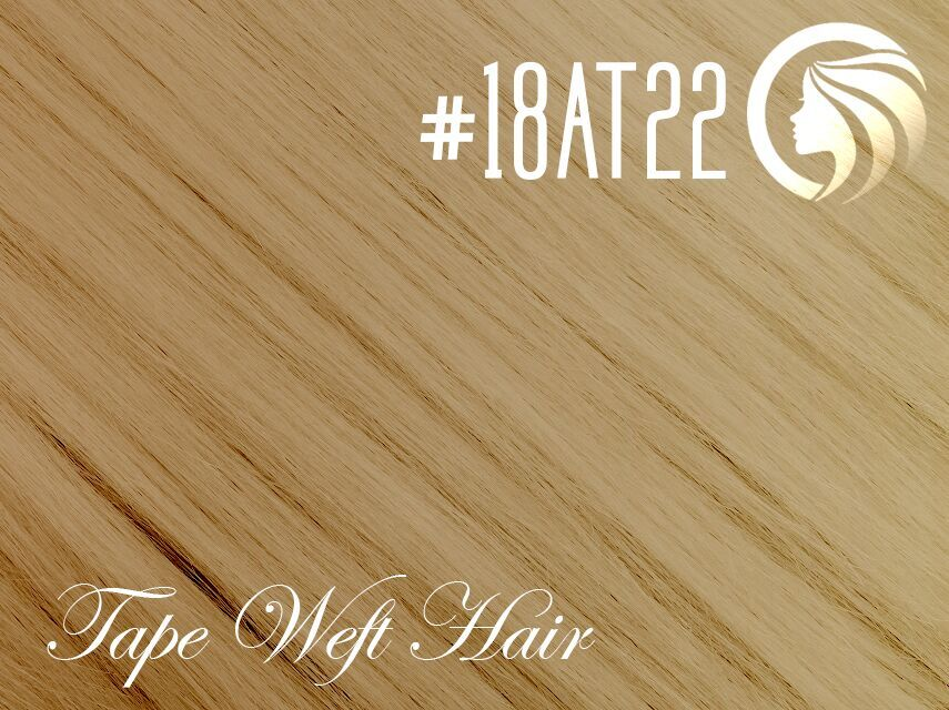 #18AT22 Ash Honey Blonde/Light Neutral Blonde – 18″ – 60 gram – 24 Pieces – Athena Tape Weft Ombre