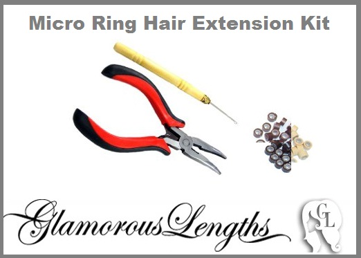 Micro Ring Hair Extensions Kit (choose micro ring color) (Red pliers)