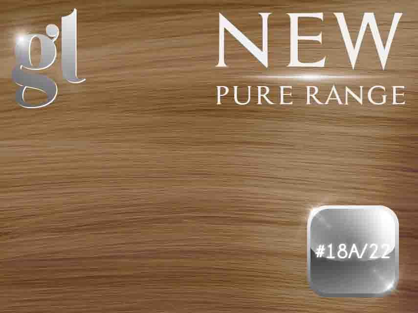 #18A/22 Ash Honey Blonde/Light Neutral Blonde - Nano tip – 20″ - 0.8 gram – Pure Range Highlight (25 Strands)