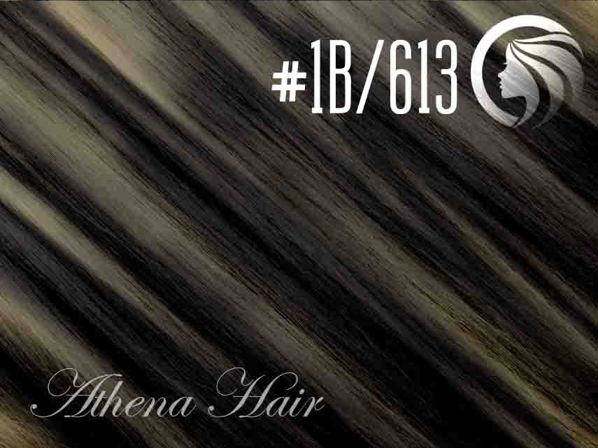 *SALE* #1B/613 Off Black/Blonde – 18″ – 0.5 gram – uTip – Athena (50 strands per packet)