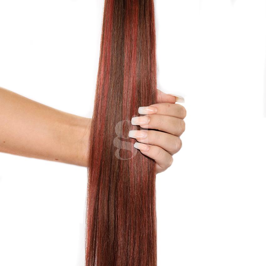 #2/33 Dark Brown/ Copper Red – 18″ – 1g – Nano Tip – Athena (50 strands)