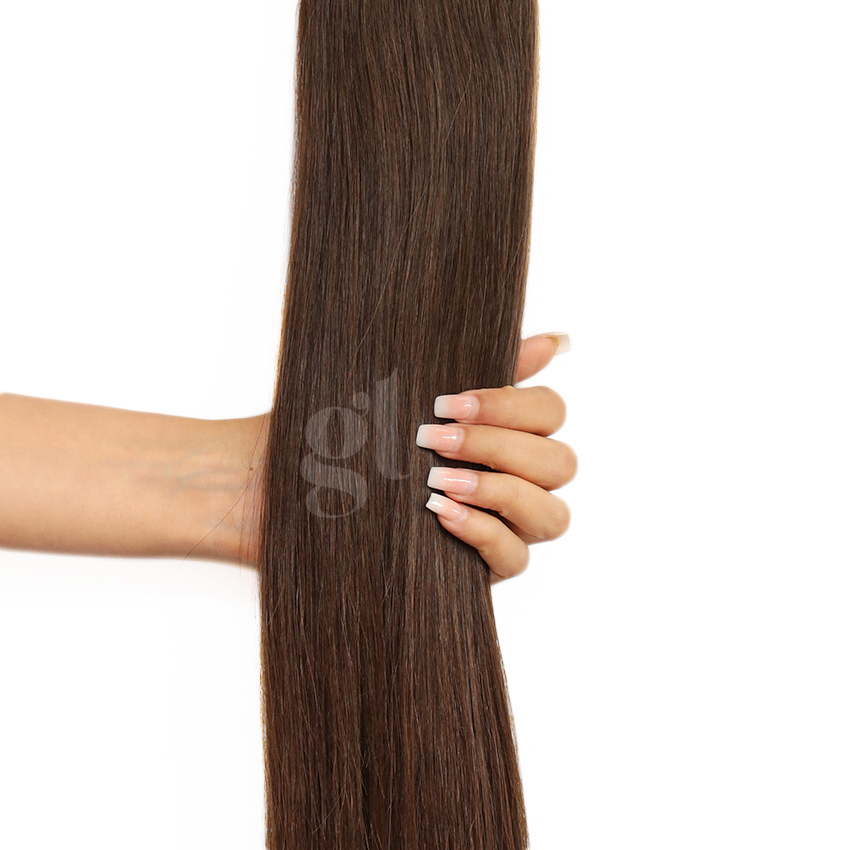 *NEW* #2 Dark Brown – 22″ – 300g – 10 Pieces – GL Seamless Remy Clip Ins