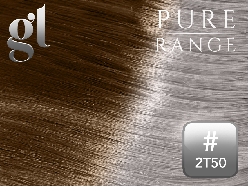 #2T50 Dark Brown/Light Silver Grey – 20″ - 0.8 gram – uTip - Pure Range Ombre (25 Strands)