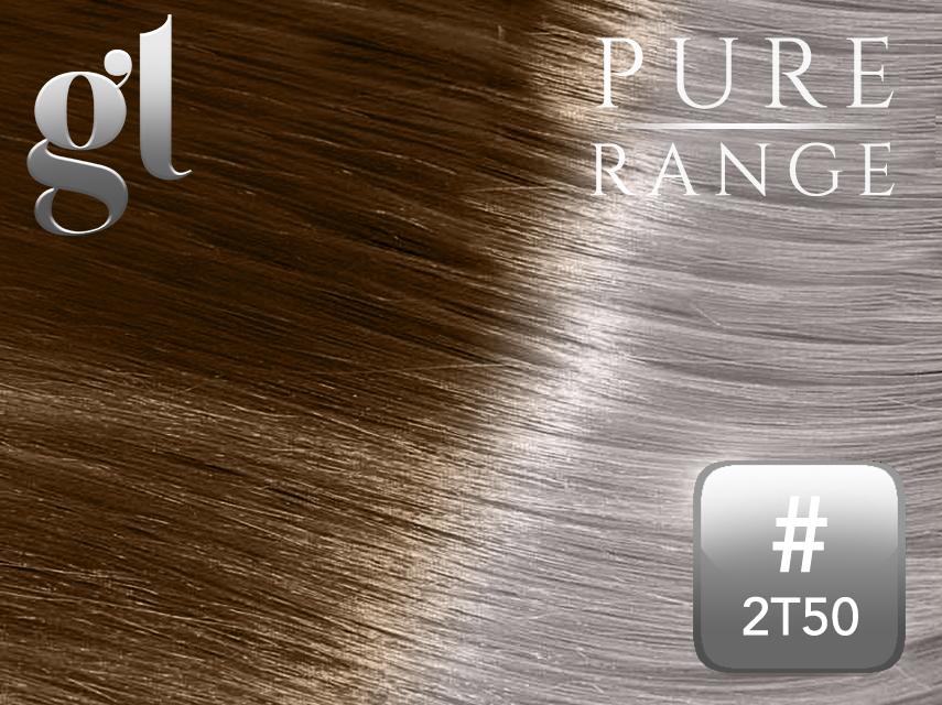 #2T50 Dark Brown/Light Silver Grey - Nano tip – 20″ - 0.8 gram – Pure Range Ombre (25 Strands)