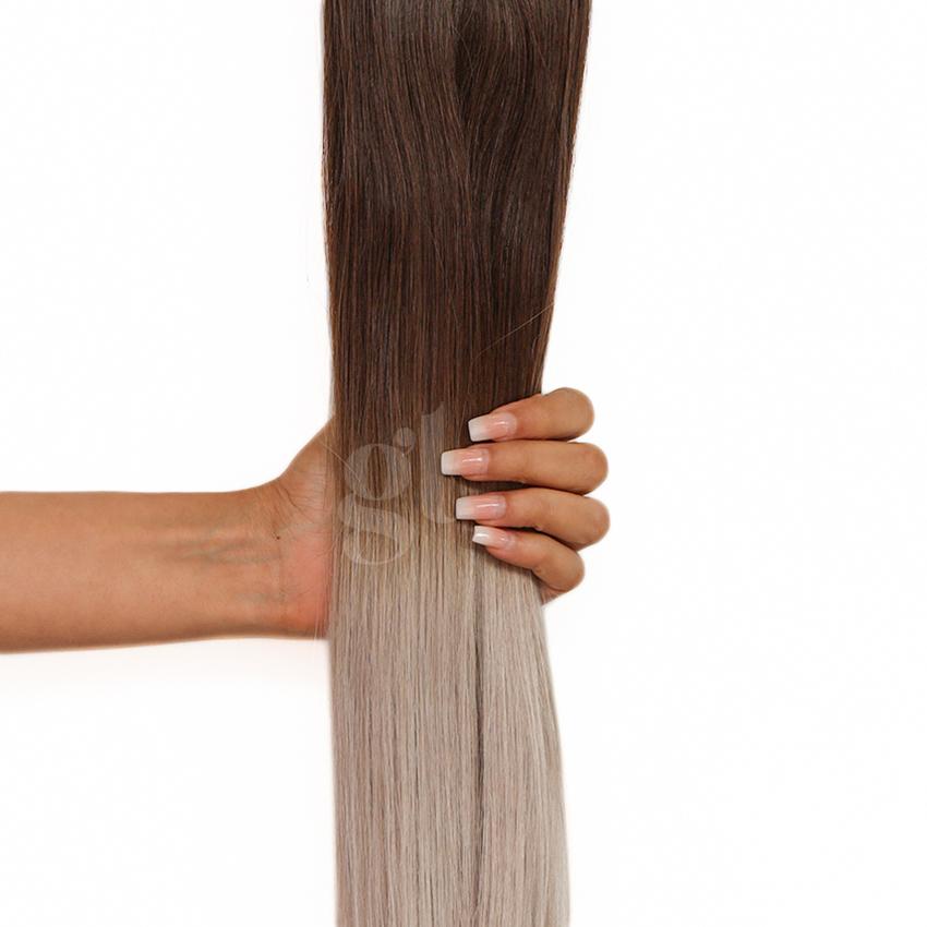 #2T50 Dark Brown/Light Silver Grey – 22″ – 60g – 24 Pcs – Athena Tape Hair
