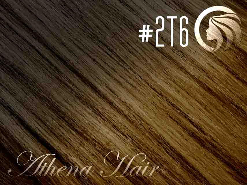 *NEW* #2T6 Dark Brown/Brown – 18″ – 120g – 5 Pieces – Clip Ins Athena Hair