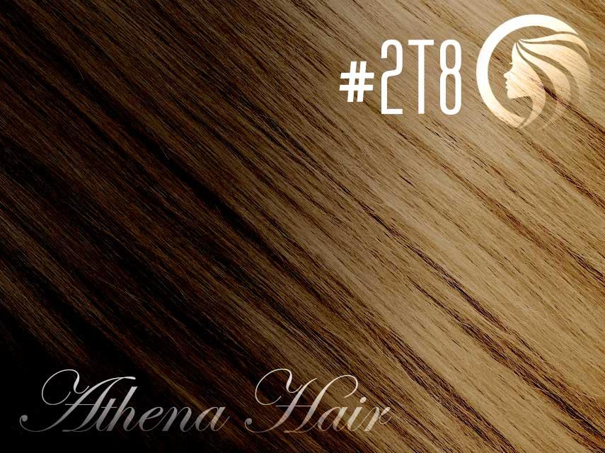 #2T8 Dark Brown/Medium Brown – 18″ – 1 gram – uTip – Athena Ombre (25 strands per packet)