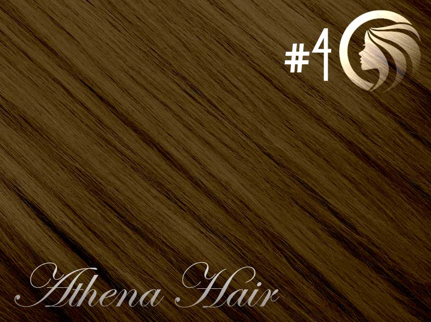 *NEW* #4 Chocolate Brown – 18″ – 120g – 5 Pieces – Clip Ins Athena Hair