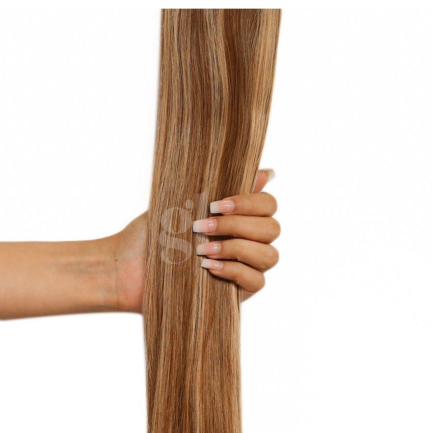#4/18 Chocolate Brown/Honey Blonde – 18″ – 1 gram – uTip – Athena (25 strands)