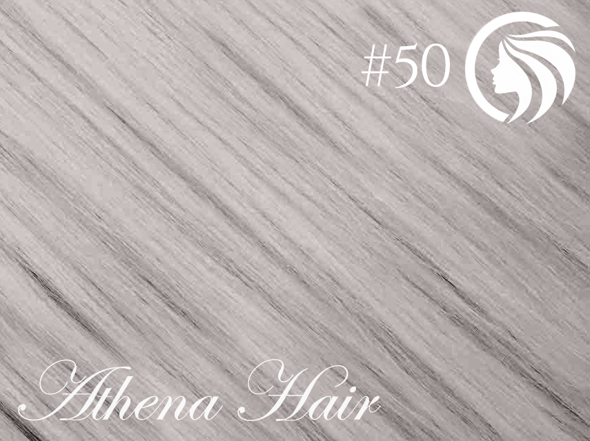 #50 Light Silver Grey – 18″ – 1 gram – Nano Tip – Athena (25 strands per packet)