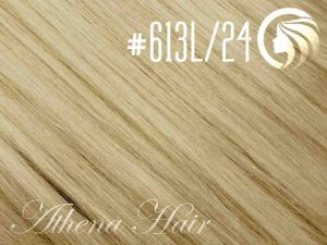 #613L/24 Light Bleach Blonde/Golden Blonde – 18″ – 1 gram – Nano Tip – Athena (25 strands per packet)