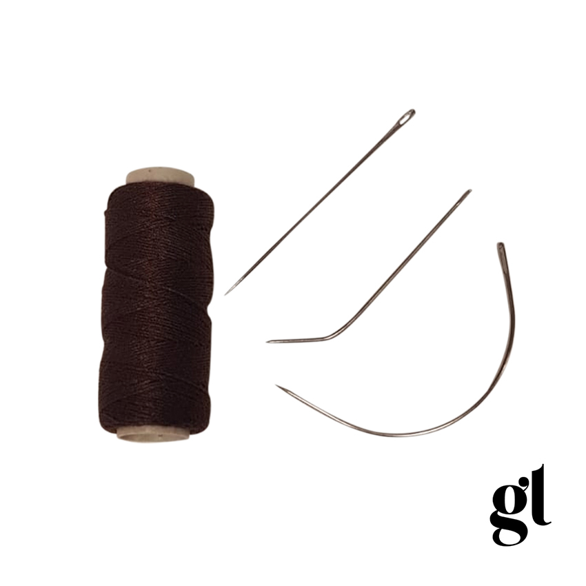WEFTING THREAD AND 3 x NEEDLE SET - BROWN