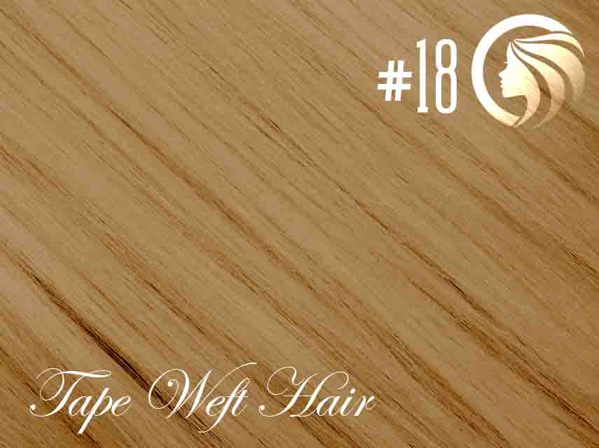 #18 Honey Blonde – 18″ – 60 gram – 24 Pieces – Athena Tape Weft