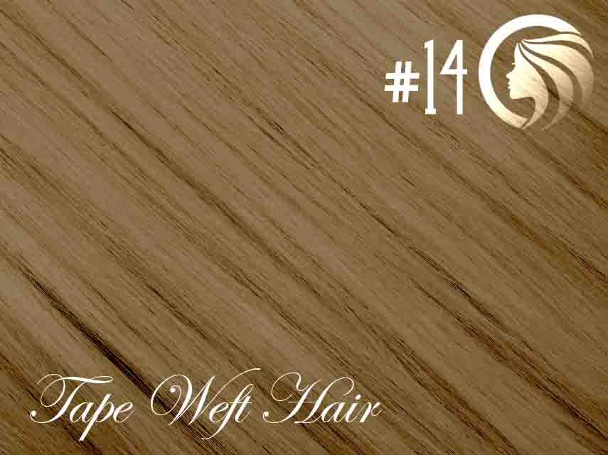 #14 Dark Blonde – 18″ – 60 gram – 24 Pieces – Athena Tape Weft