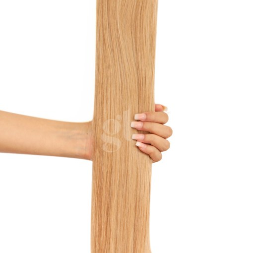#18 Honey Blonde – 22″ – 150g – 5 Pieces – GL Seamless Remy Clip Ins