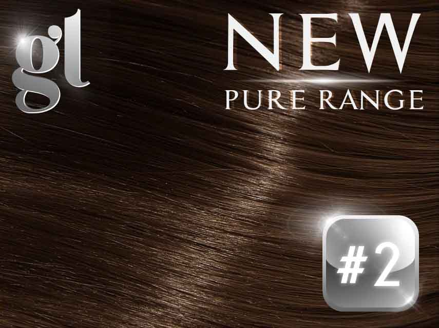 #2 Dark Brown - Nano tip – 20″ - 0.8 gram – Pure Range (25 Strands)