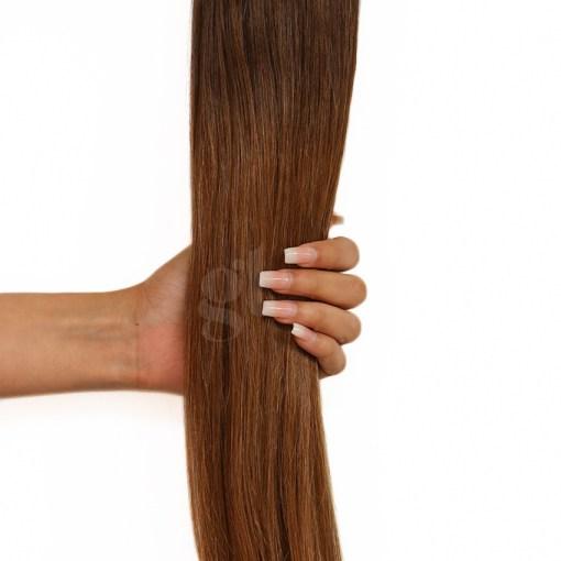 #2AT5 Dark Ash Brown/Medium Golden Brown – 22″ – 150g – 5 Pieces – GL Seamless Remy Clip Ins