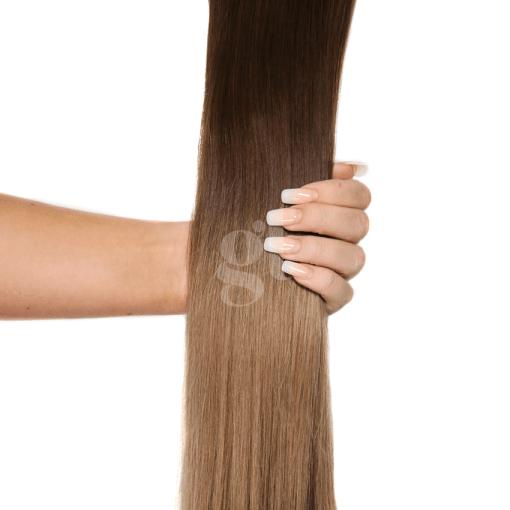 #2T8 Dark Brown/Medium Brown – 22″ – 150g – 5 Pieces – GL Seamless Remy Clip Ins