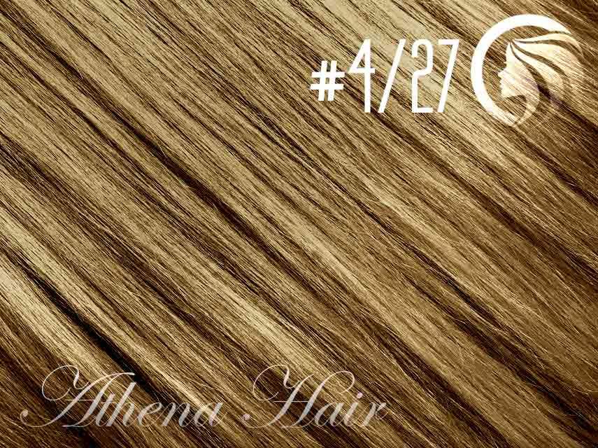 #4/27 Chocolate Brown/Strawberry Blonde – 18″ – 1 gram – uTip – Athena (25 strands per packet)