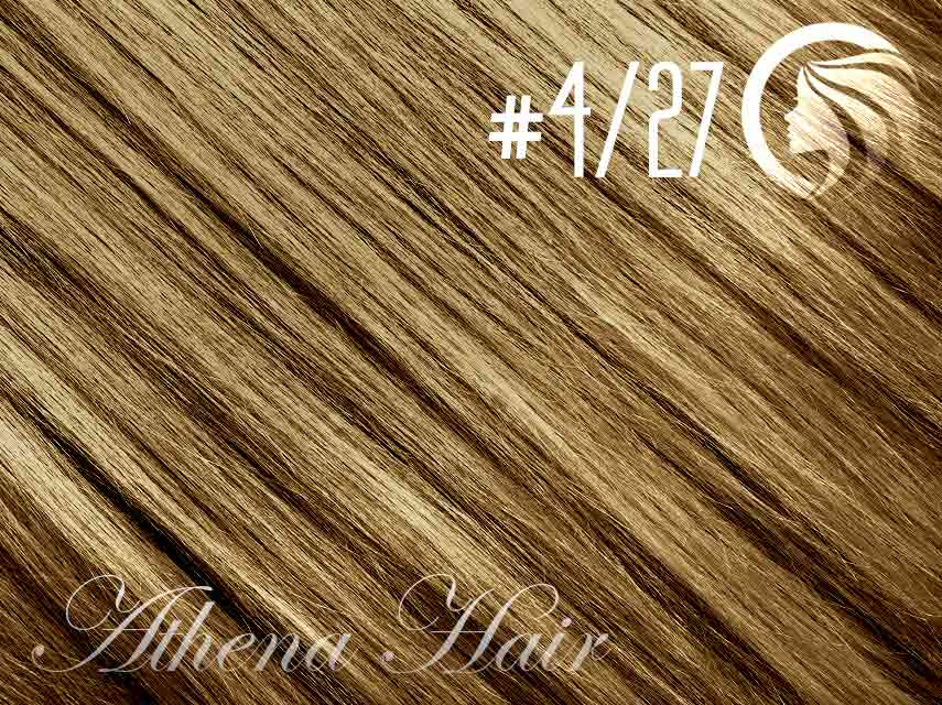 *SALE* #4/27 Chocolate Brown/Strawberry Blonde – 18″ – 0.5 gram – iTip – Athena (50 strands per packet)