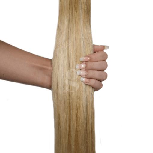 #613L/27 Light Bleach Blonde/ Strawberry Blonde  – 22″ – 150g – 5 Pieces – GL Seamless Remy Clip Ins